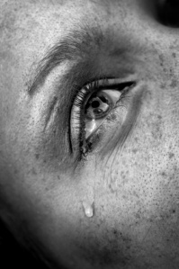 crying woman's eye, black and white image, low key, selective focus